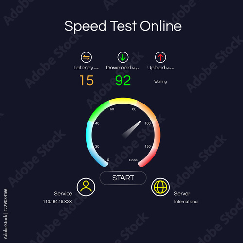 Internet connection speed test gauges on server locations