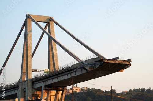 Foto op Canvas Brug morandi collapsed bridge in genoa