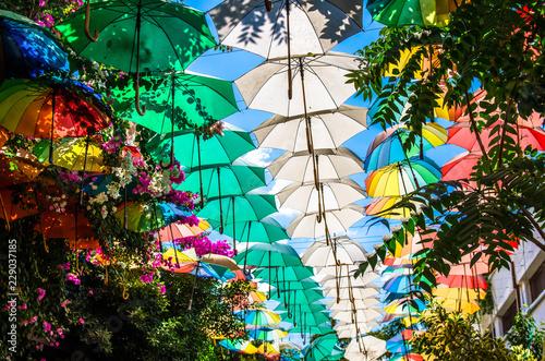 Canvastavla Multicolored umbrellas above street at Nicosia, Lefkosa, North Cyprus