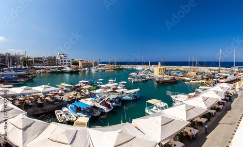 Marina harbour and port with yachts in Kyrenia Girne, North Cyprus