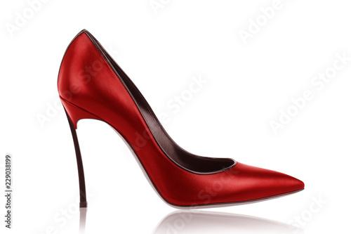 Valokuva Red leather high-heeled shoes