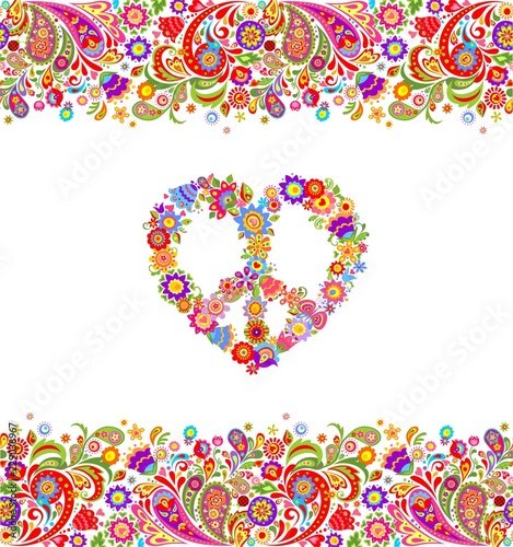 Papel de parede Fashion design with colorful floral summery seamless border and hippie peace flo