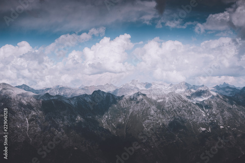 In de dag Bergen Closeup view mountains scenes in national park Dombai, Caucasus, Russia, Europe. Summer landscape, sunshine weather, dramatic blue sky and sunny day