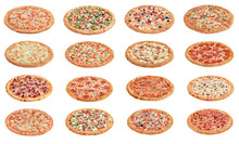 Sixteen Kinds Of Pizza On White Background Isolate. Restaurant Menu.