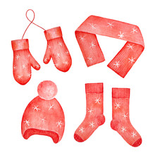 Collection Of Bright Red Colored Hat, Scarf, Mittens And Socks. Season Warmers To Protect Head, Ears, Neck, Hands And Feet. Watercolour Drawing, Cutout Clip Art Elements For Design And Decoration.