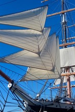 Historic Ship With Sails And B...