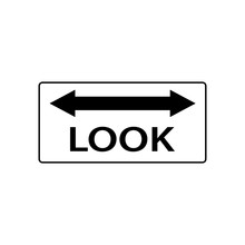 USA Traffic Road Signs. Railroad Crossing Ahead, Look Both Ways For Train Before Processing. Vector Illustration