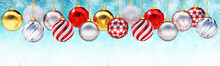 Multiple Metallic Christmas Balls Against Snow Background.