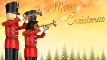 Toy Soldiers Announcing Christmas With Trumpets.