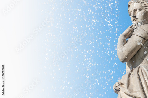 Beautiful young girl under water drops as element of State Opera fountain in Vie Wallpaper Mural