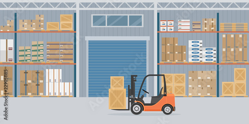 Fototapeta Orange Forklift truck in warehouse hangar interior. Warehouse Equipment, cargo delivery, storage service. Vector illustration. obraz