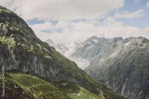 View closeup mountains scenes, route great Aletsch Glacier in national park Switzerland, Europe. Summer landscape, blue sky and sunny day