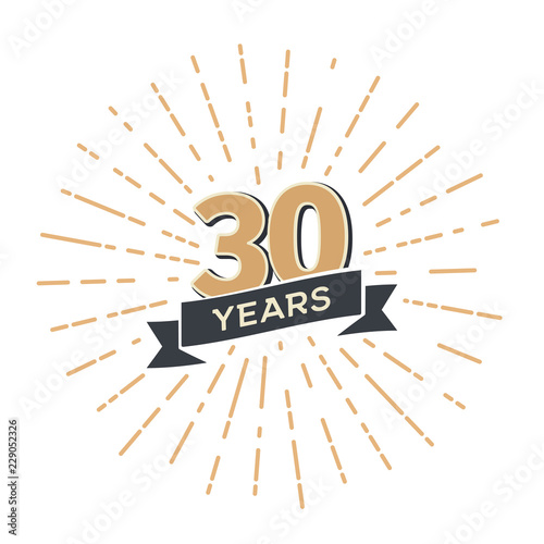 Cuadros en Lienzo Thirty five anniversary retro vector emblem isolated template