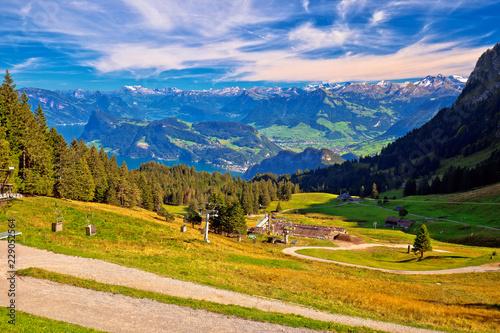 Fotomural Hillside landscape under Pilatus mountain with Lucerne lake aerial view