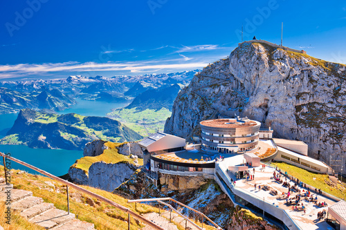 Fotografie, Tablou Pilatus mountain peak and Lucerne lake view