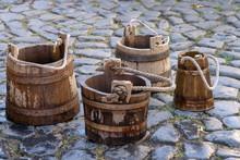 4 Wooden Water Buckets