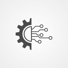 Gear And Circuit Vector Icon Sign Symbol