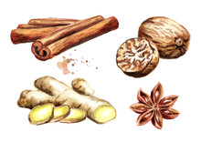 Spices Set With Ginger, Cinnam...