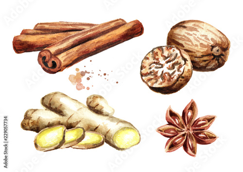 Fotografia Spices set with ginger, cinnamon sticks, star anise and nutmeg