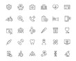 medical ambulance health insurance line black icons set