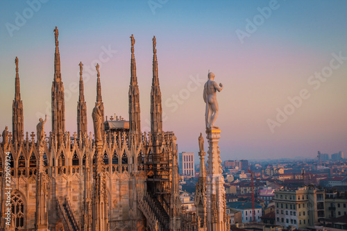 Evening Milan, view of the city from the terrace of the Duomo