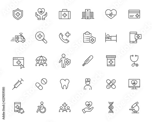 Fototapeta medical ambulance health insurance line black icons set obraz