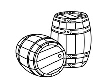 Couple Of Wood Wine Or Whiskey Barrels Stylish Single Weight Line Art Logo