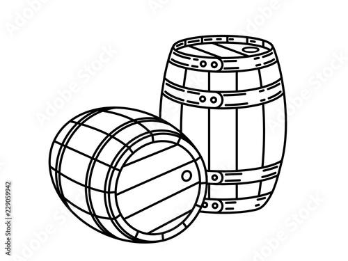 Couple of wood wine or whiskey barrels Stylish Single Weight Line Art Logo Fototapete