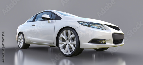 Foto op Canvas Cartoon cars White small sports car coupe. 3d rendering.
