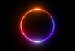 canvas print picture - 3d render, neon light, round frame, blank space for text, ultraviolet spectrum, ring symbol, halo, isolated on blank background