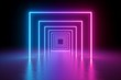 canvas print picture - 3d render, abstract background, square portal, glowing lines, tunnel, neon lights, virtual reality, arch, pink blue spectrum vibrant colors, laser show, isolated on black