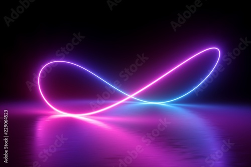 Fotografia  3d render, infinity symbol, neon light, loop, ultraviolet spectrum, quantum ener