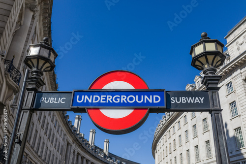 Photo Stands London View of the underground station sign at Piccadilly Circus