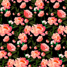 Seamless Floral Pattern With Of Red And Orange Roses On Black Background. Classic Rose Background. Vector Illustration.
