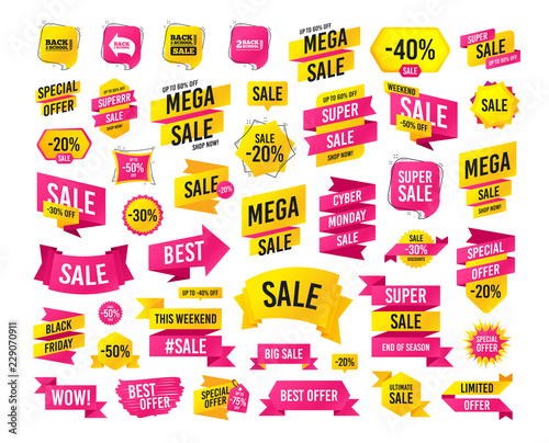 29bfb53f996 Sales banner. Super mega discounts. Back to school sale icons. Studies  after the holidays signs. Pencil symbol. Black friday. Cyber monday. Vector