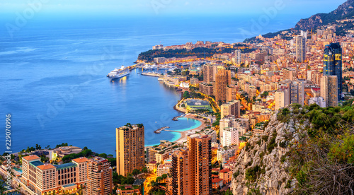 Panoramic view of Monaco and Monte Carlo on sunrise