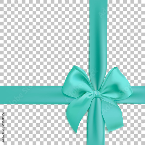 Realistic turquoise bow and ribbon isolated on transparent background. Template for brochure or greeting card. Vector illustration.