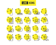 Cleaning Line Icons. Laundry, ...