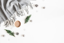 Christmas Decorations, Plaid, Pine Cones, Fir Tree Branches, Cup Of Coffee On White Background. Christmas, New Year, Winter Concept. Flat Lay, Top View, Copy Space