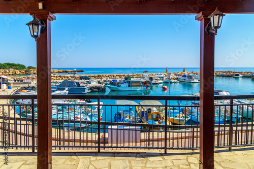 Printed kitchen splashbacks City on the water View of boats in port in Protaras, Cyprus