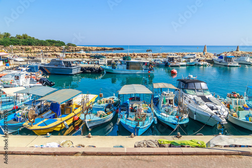 Poster Ville sur l eau View of boats in port in Protaras, Cyprus