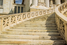 Ancient Greece Palace And Marble Stairs Architecture Concept, Colorful Picture And Summer Warm Weather