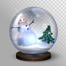 Glass Snow Globe With Snowman ...