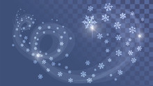 Snow Swirl, Frosty Wind On A Transparent Background. Winter, Snowflakes, Snowfall
