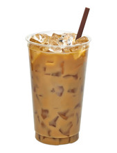 Iced Latte Or Coffee In Plastic To Go Or Takeaway Cup Mock Up Isolated On White Background. Including Clipping Path.