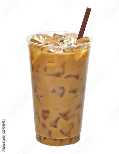 Fototapeta Iced latte or coffee in plastic to go or takeaway cup mock up isolated on white background