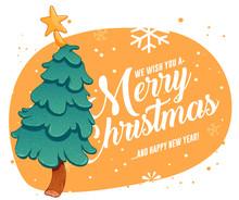 Merry Christmas Greeting Cards Retro Design. Vector