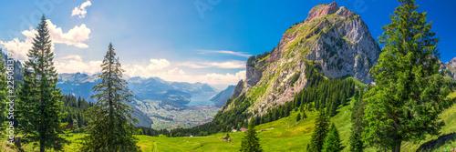 Foto auf Gartenposter Gebirge Beautiful summer landscape of Switzerland with Grosser Mythen mountain and green meadows, Ibergeregg, Switzerland, Europe.