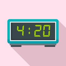 Digital Alarm Clock Icon. Flat...