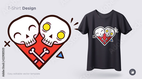 Obraz Funny skeleton illustration. Print on T-shirts, sweatshirts and souvenirs - fototapety do salonu